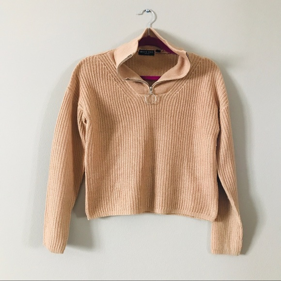 Brave Soul Camel Ribbed Crop O-Ring Sweater